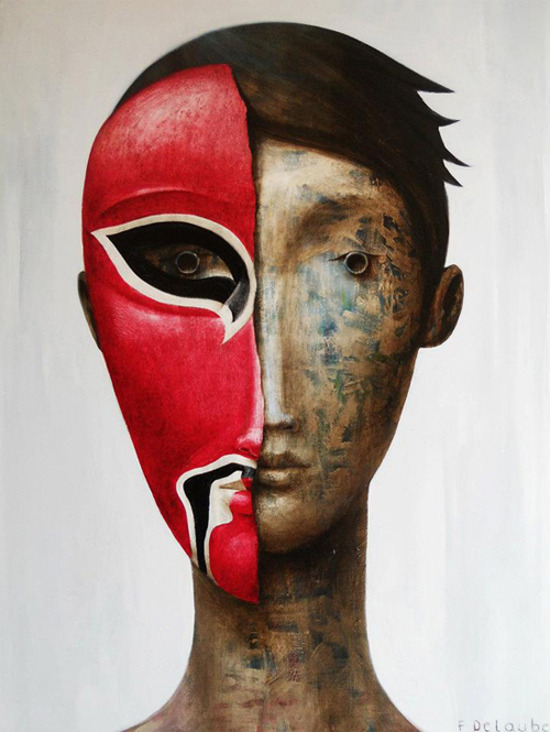 Masks Oil Painting on Canvas by Fabien Delaube
