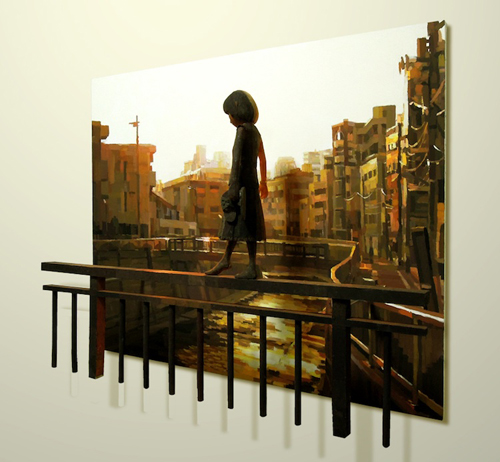 Sculptures Popping Out of Paintings by Shintaro Ohata