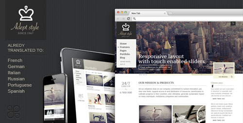 Adept Style Responsive for Business Portfolio - Retina Ready WordPress Theme