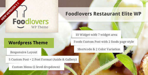 Foodlovers Restaurant Elite WP - Retina Ready WordPress Theme