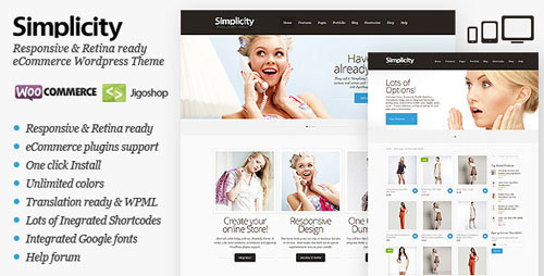 Simplicity - eCommerce WordPress Theme, Responsive - Retina Ready WordPress Theme