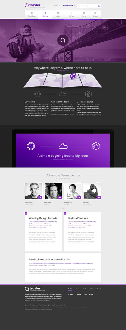 free psd webdesign travler