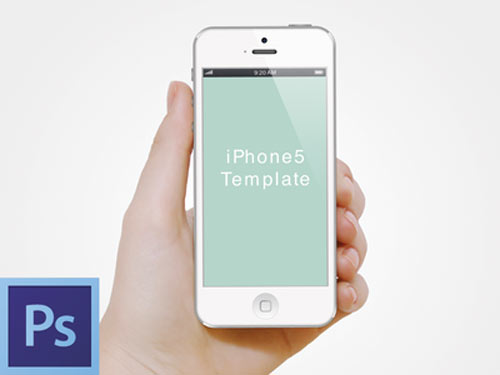 hand with iphone5 template psd