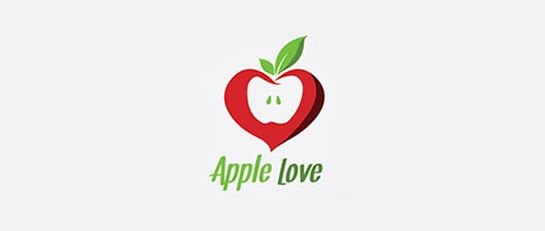 heart ove apple logo 26 Apple shape Logo Designs