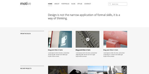 motive minimal homepage layout psd