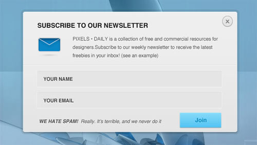 newsletter sign up form psd