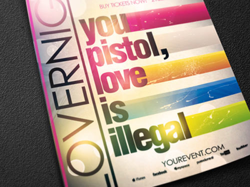 psd lovernight typography flyer template