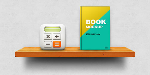 wooden shelf display mockup psd
