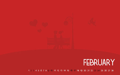 February Valentine Calendar HD Wallpaper