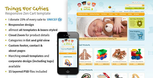 ThingsforCuties Responsive Zen Cart Baby Template