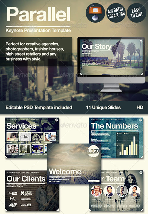 Parallel Keynote Presentation Template - Creative Keynote Templates