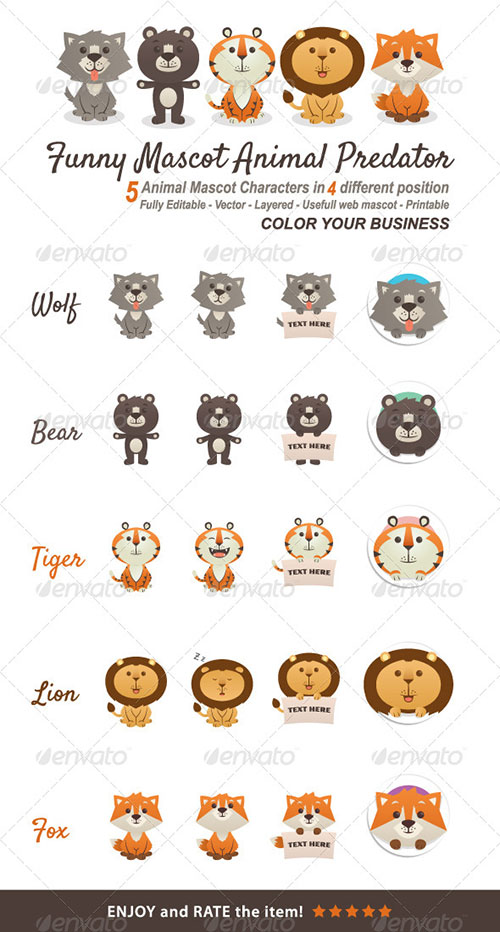 Funny Mascot Animal Predator - Animals Characters