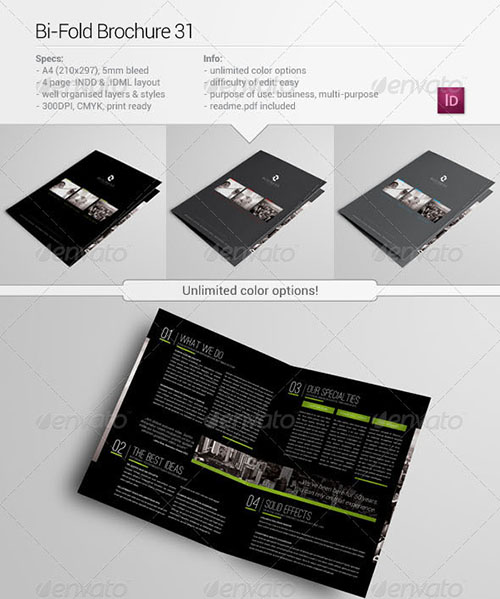 30 awesome indesign brochure templates for Indesign bi fold brochure template