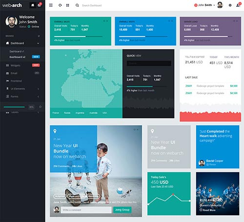 Flat Admin Dashboard Templates