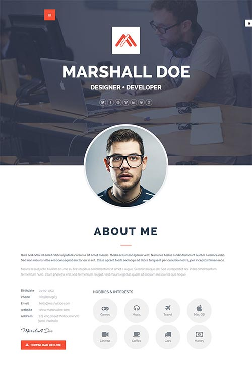 Undefined Top 40 Free Printable Cv Templates In 2017 | Themerex 20