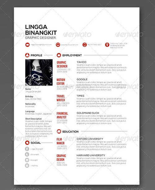 25 professional psd resume templates 2015