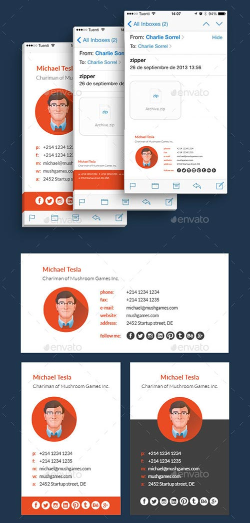 15 Professional Email Signature  PSD Templates