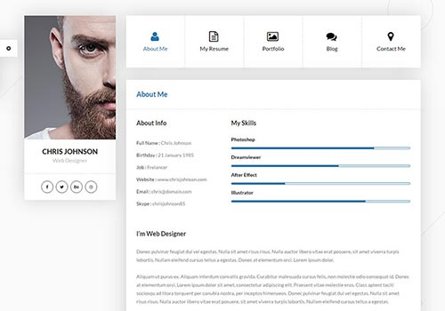 Personal VCard & Resume HTML Templates
